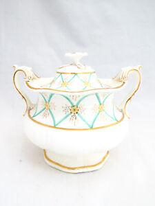 Davenport Lowestoft Large Covered Handled Sugar Bowl
