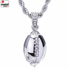 "Men's Hip Hop Silver Plated Iced Out Football Pendant Rope Chain 24"" HC 1120 S"