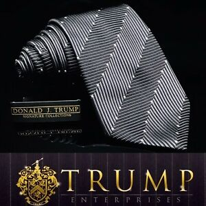 DONALD J. TRUMP~ SIGNATURE COLLECTION Black Silver Strip Thick Tie