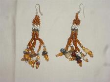 Handmade Beaded Dangle Chandelier Earrings  Natural Autumn, Irridescent  Beads