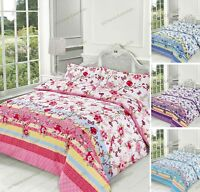 Luxury Cotton Rich Duvet Cover  With Pillow Cases Blossom Bedding Set All Sizes