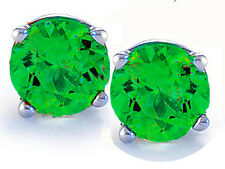 Round Cut Emerald 14k White Gold Sterling Silver Stud Earrings New