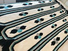 "Vintage Chic Crocheted Afghan Throw w/ 2"" Fringe White Aqua Gray Black 40""x60"""