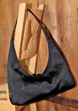 $798~PRADA Satin Hobo NERO~BLACK~Tote~Leather~BAG~HOBO silk Authentic Silver