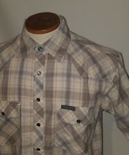 Dickies  Mens Small Plaid Pearl Snap Western Cowboy Button Up Shirt