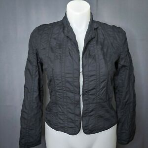 Jacob Womens Blazer Jacket Size 13/14 Black Cotton Casual Quilted Hook & Eye