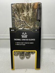 Realtree Edge Thermal Stretch Gloves Hunting Size M Waffle Knit Non Slip Palm