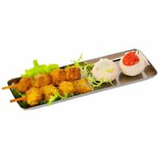 24 METALLIC PLASTIC TRAYS - - - -silver look long tray side plate salad dressing