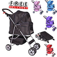 Dog Stroller 4 Wheel Cat Pet Cage Puppy Carrier Travel Folding Portable Large