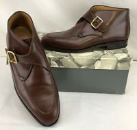 Bally Titus Mens Monk Strap Brown Calf Leather Boots ~ Size 8.5 D NEW