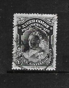 NIGERIA : NIGER COAST 1898 1/- black perf 14  wmk CA vf MINT hinged SG 72a