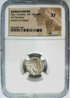 Roman Empire Marcus Aurelius NGC XF AD 161-180 Denarius Silver Ancient Caesar