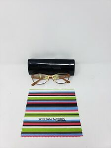 William Morris London Women Prescription Glasses Copper Brown Sz M + Cloth 135mm