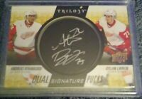 16-17 Upper Deck Trilogy Signature Pucks Dual Andreas Athanasiou/ Dylan Larkin.