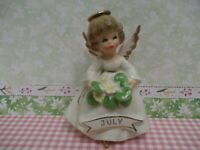 Vtg. Enesco July Angel of the Month Figurine~ Water Lily in hands~Gorgeous face