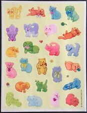 Vintage Hallmark Stickers - Colorful Cats & Dogs - Dated 1985