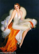 1940s Pin-Up Charming Girl in White Picture Poster Print Art Vintage Pin Up
