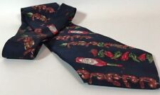 Tabasco Hot Peppers Shrimp Silk Tie. USA.  Dark Blue Shrimp Kabob Men's necktie