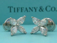 TIFFANY & CO. VICTORIA .92 TCW DIAMOND PLATINUM MEDIUM EARRINGS