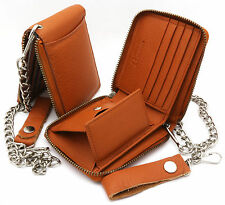 Bifold Orange Genuine Leather Scale Texture Zip-Around Wallet with a Chain