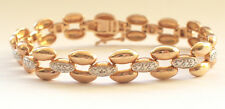 925 Solid Sterling Silver Iced Rolo Oval Chain Bracelet Gold Plate Bling Hiphop