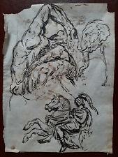 Dessin. Plume Encre brune. ( Delacroix, Géricault ). XIXème.