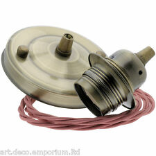 E27 New Antiqued Brass Effect Pendant Kit with Old Duskey Pink Braided Flex