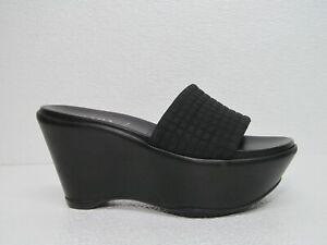 Prada Made in Italy Platform Wedge Slides Black Quilted Size Women's 35.5M