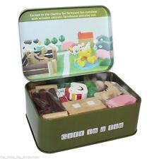 Apples to Pears Farm in a Tin Wooden Toy Animal Xmas Stocking Filler Gift Set
