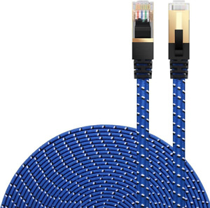 Cat 7 Ethernet Cable,Blue 8M/26FT DanYee Nylon Braided CAT7 High Speed Lan Cable
