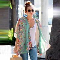 US Fashion Women Chiffon Cardigan Kimono Blouse Tops Beach Bikini Cover-Up Shirt