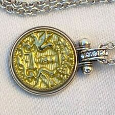 NWT Authentic Brighton Lucia Silver, Gold & Crystal Coin Pendent Necklace $50