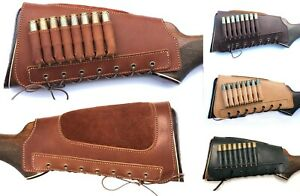 Leather Buttstock Rifle Ammo Shell Cartridge Holder Cover Cheek Rest Hunting
