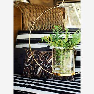 Hanging Hurricane Vase in Iron Gold circle, Hanging Tea Light Candle Holder