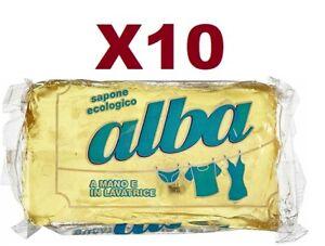 10 PEZZI ALBA SAPONE ECOLOGICO per bucato a mano e lavatrice 400 gr SAPONE MOLLO