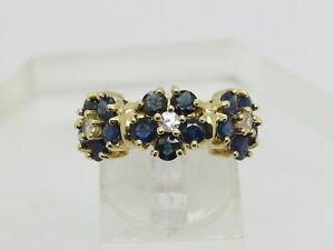 Solid 14k Yellow Gold Round Blue White Sapphire Flower Cluster Band Ring Size 7