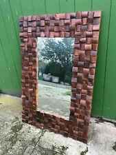Spiegel Wandspiegel 80 x 120 cm Vintage Teak Teakholz massiv Spiegelglas