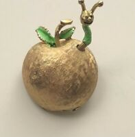 Vintage apple with worm  Brooch Pin enamel on  gold tone metal