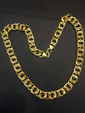 Handmade Dubai Men's Link Chain Necklace In Solid Certified 22Carat Yellow Gold