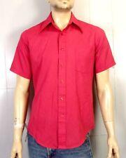 vtg 70s JC Penney Men's Carmine Red Big Collar SS Dress Shirt Button Down M 15