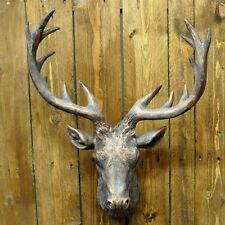 COPPER / BRONZE COLOURED LARGE STAGS HEAD RESIN WALL ART DECOR