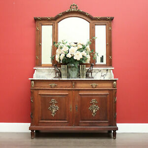 Antique French Oak Dressing Table, Mirror Back Hall Cabinet Cupboard, Marble Top