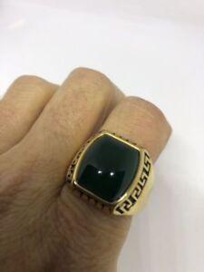 Vintage Golden Stainless Steel Genuine Green Chrysoprase Size 9 Men's Ring