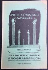 Bruno Walter conducts Kurt Weill, Vienna Philharmonic, Concert Programme, 1937