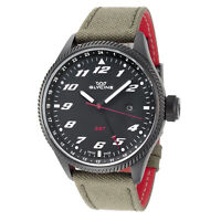 Glycine GL1007 Men's Airman GMT Quartz 45mm Black Dial Cordura Strap Watch