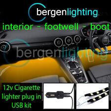 2X 1000MM AMBER USB 12V LIGHTER INTERIOR KIT 12V SMD5050 DRL MOOD LIGHTING STRIP