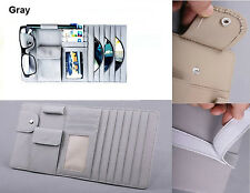 Car Sun Visor Cover Leather CD/DVD Disk Card Storage Bag Sunglass Pen Clip Grey