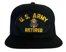 U.S. Army Retired Hat Black Flat Brim Snapback High Profile 100% Cotton