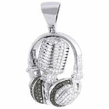 Diamond Microphone Pendant Mens 10K White Gold Round Headphone Charm 1 Tcw.