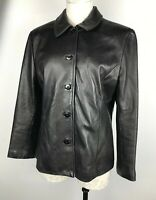 DANIER Women's Black ITALIAN LEATHER Button Up Blazer /Jacket Size M